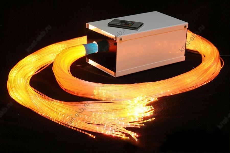 Набор фибероптических волокон с боковым точечным свечением