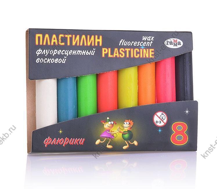 Пластилин флуоресцентный набор 8 цветов СМ-001