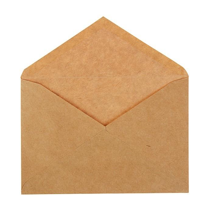 Конверт почтовый крафт С6 114х162мм, треугольный клапан, клей, 90г/м2, упаковка 1000шт