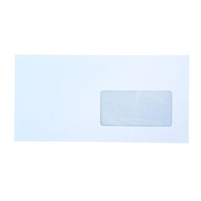 Конверт почтовый Е65 110х220мм чистый, правое окно 45х90мм, силиконовая лента, 80г/м, упаковка 1000шт