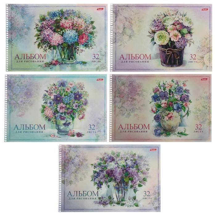 Альбом для рисования А4, 32 листа на гребне «Нежная акварель», обложка мелованный картон, тиснение, МИКС