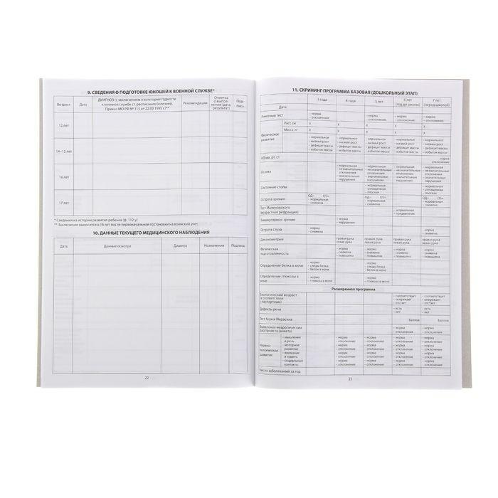 Медицинская карта ребёнка (школьника) А4, 16 листов