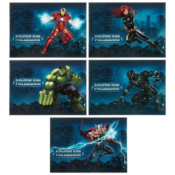 Альбом для рисования А4, 20 листов на скрепке «Мстители MARVEL», обложка мелованный картон, МИКС