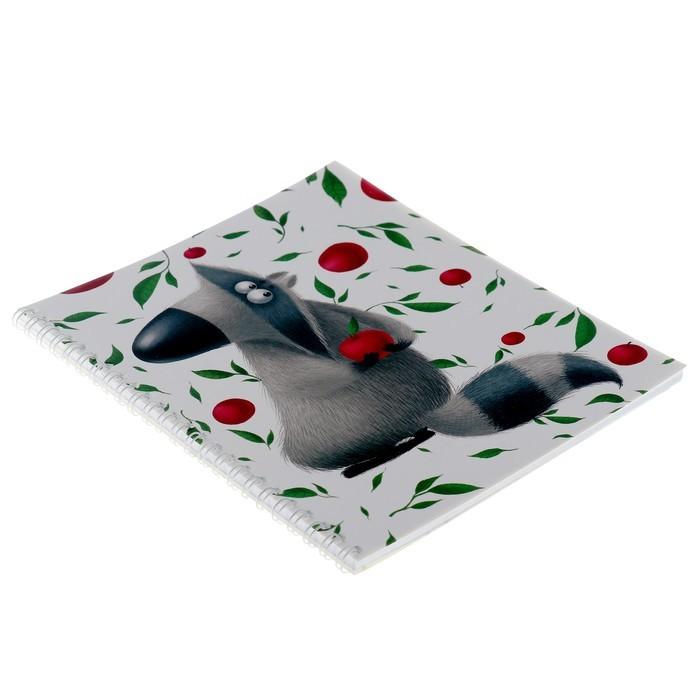 Тетрадь 48 листов клетка на гребне «Енотики», мелованный картон, выборочный лак