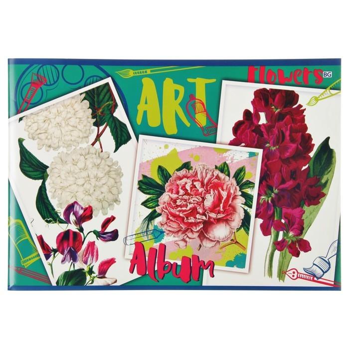 Альбом для рисования А4, 40 листов на скрепке Art flowers, обложка мелованный картон, МИКС