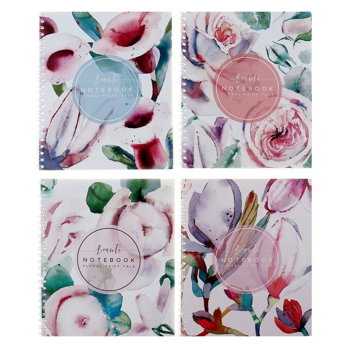 Тетрадь 48 листов клетка на гребне «Флора Арт», мелованный картон, ВД-лак