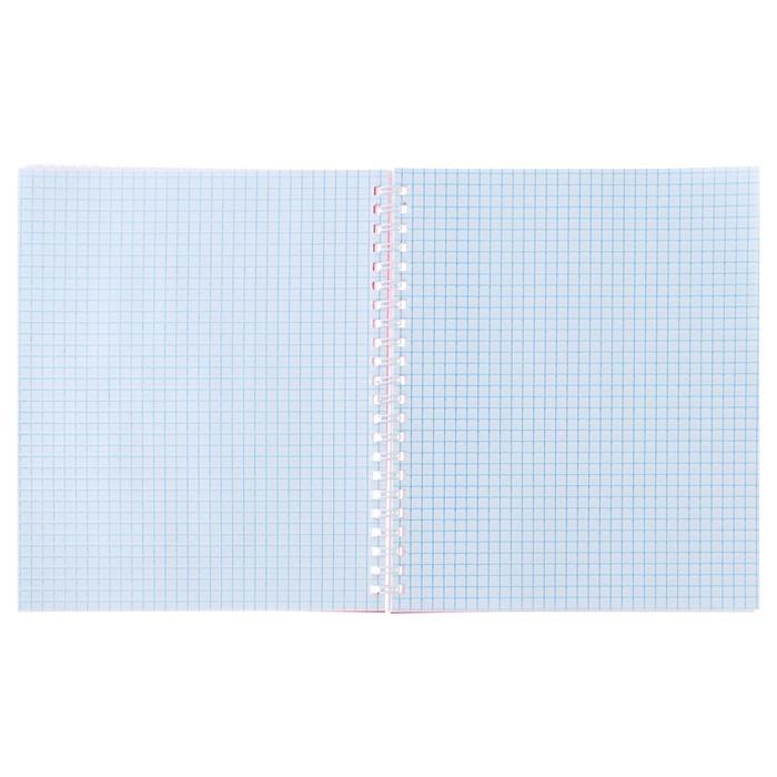 Тетрадь 48 листов клетка на гребне «Красный», пластиковая обложка