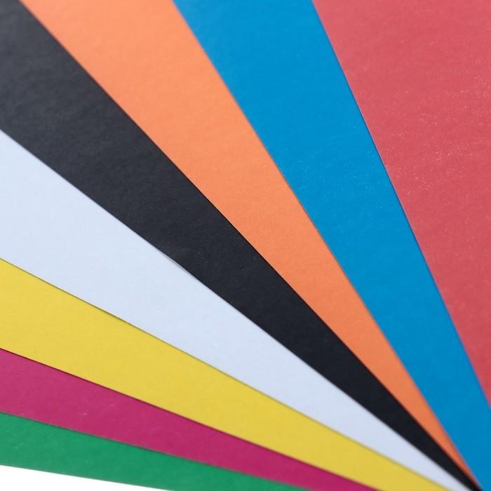 Картон цветной немелованный А3, 8 листов, 8 цветов
