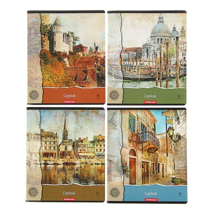 Тетрадь 96 листов, в клетку «С видом на Замок», картонная обложка, микс