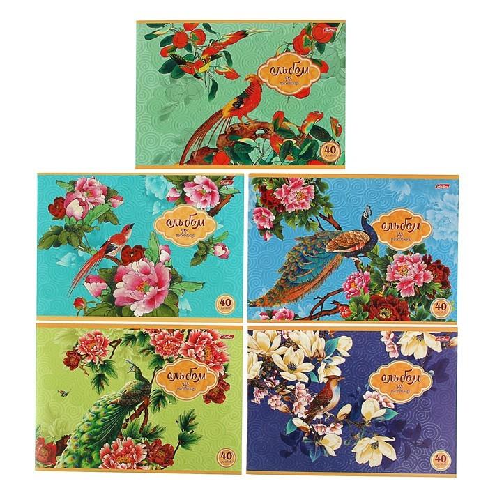 Альбом для рисования А4, 40 листов на скрепке «Райский сад», блок офсет 100 г/м2, глиттер