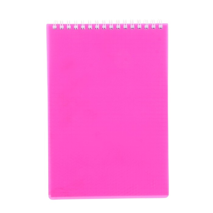 Блокнот А5, 80 листов на гребне DIAMOND НЕОН, пластиковая обложка, розовый