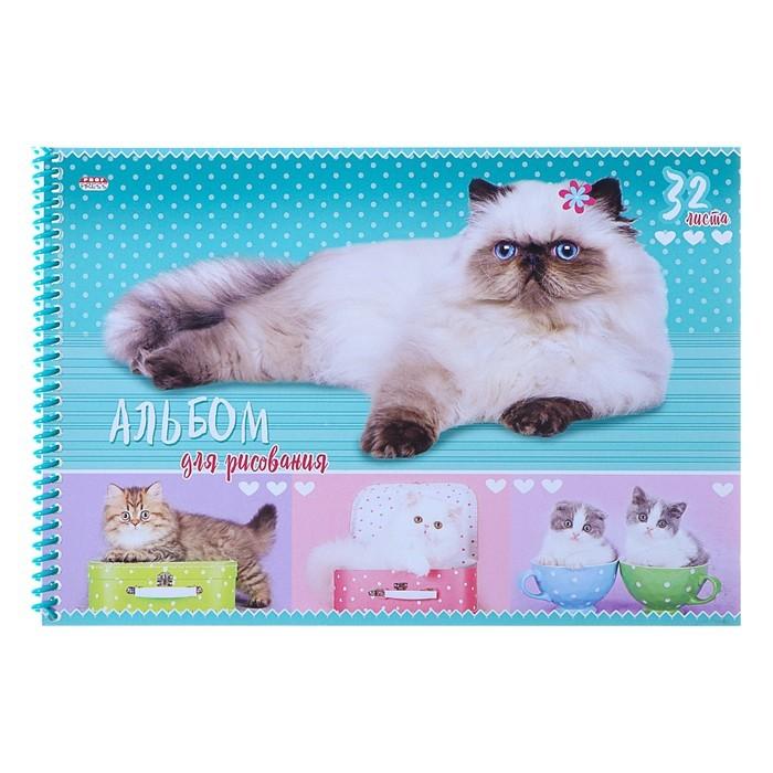 Альбом для рисования А4, 32 листа на гребне «Пушистые кошки», обложка мелованный картон