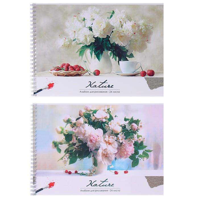 Альбом для рисования А4, 24 листов на гребне «Цветы. Нежные букеты», обложка мелованный картон, выборочный лак, МИКС