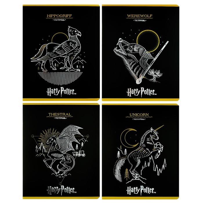 Тетрадь 48 листов клетка «Гарри Поттер», обложка мелованный картон, тиснение фольгой, МИКС