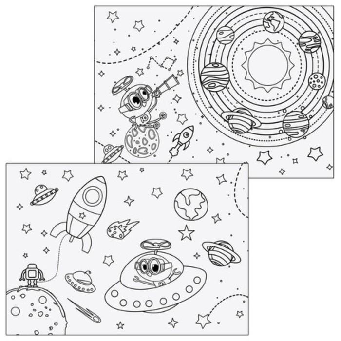 Альбом для рисования А4 24 л скоба, с раскраской, ЮНЛАНДИЯ, Юнландик в космосе