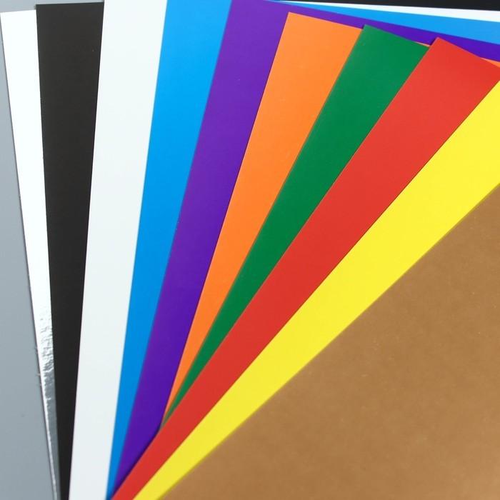 Картон цветной мелованный А4, 10 листов, 10 цветов + золото и серебро, Маша и Медведь