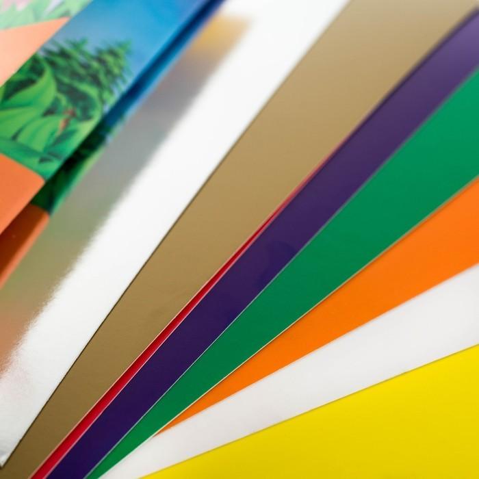 Картон цветной А4, 10 листов, 10 цветов, СМЕШАРИКИ, (серебро золото), мелованный, 240 г/м2