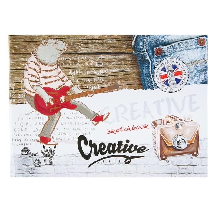 Скетчбук А5, 40 листов на скрепке «Медведь-гитарист», обложка мелованный картон, глянцевая ламинация