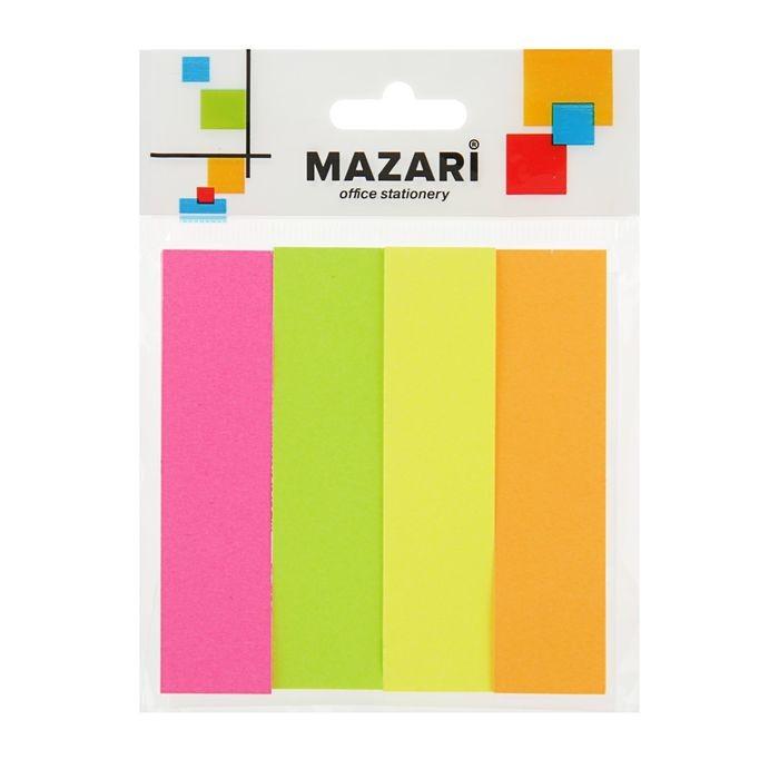 Закладки с клеевым краем MAZARi, бумажные, 19 x 76 мм, 4 цвета по 100 листов