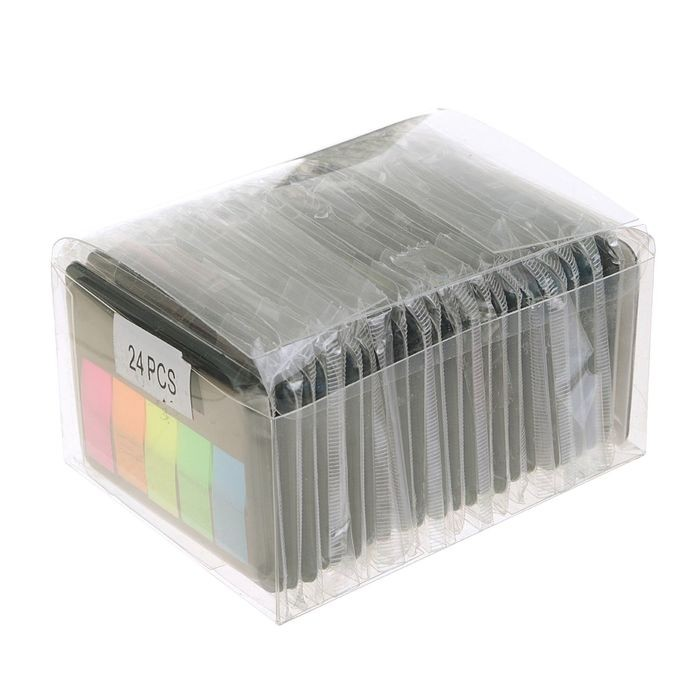 Закладки с клеевым краем, пластиковые, 45 x 12 мм, 5 цветов по 20 листов, флуоресцентные, в диспенсере, МИКС