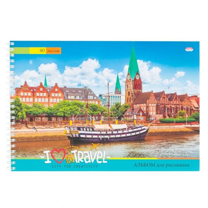 Альбом для рисования А4, 40 листов на гребне «Европейская набережная», бумажная обложка