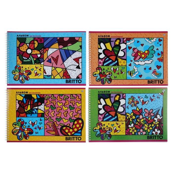 Альбом для рисования А4, 32 листа на гребне ROMERO BRITTO, обложка мелованный картон, МИКС