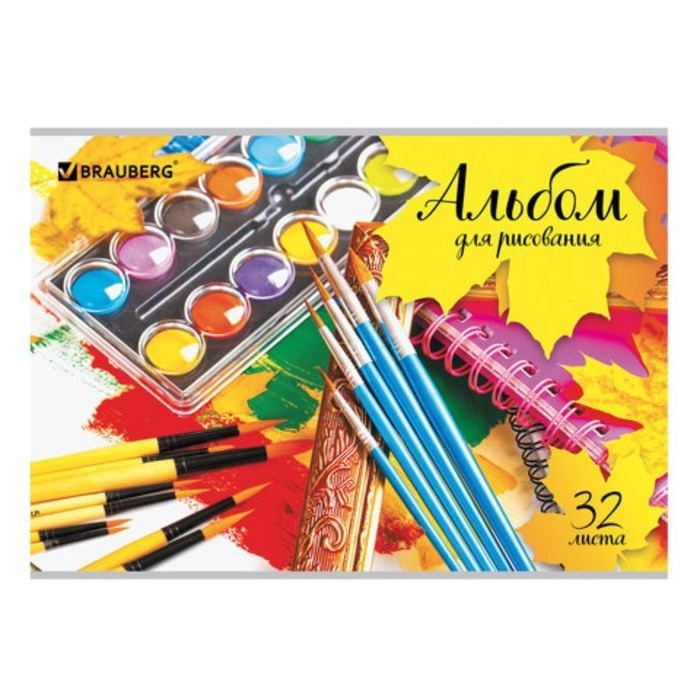 Альбом для рисования А4, 32 листа, скоба, обложка картон, BRAUBERG ЭКО, «Краски»