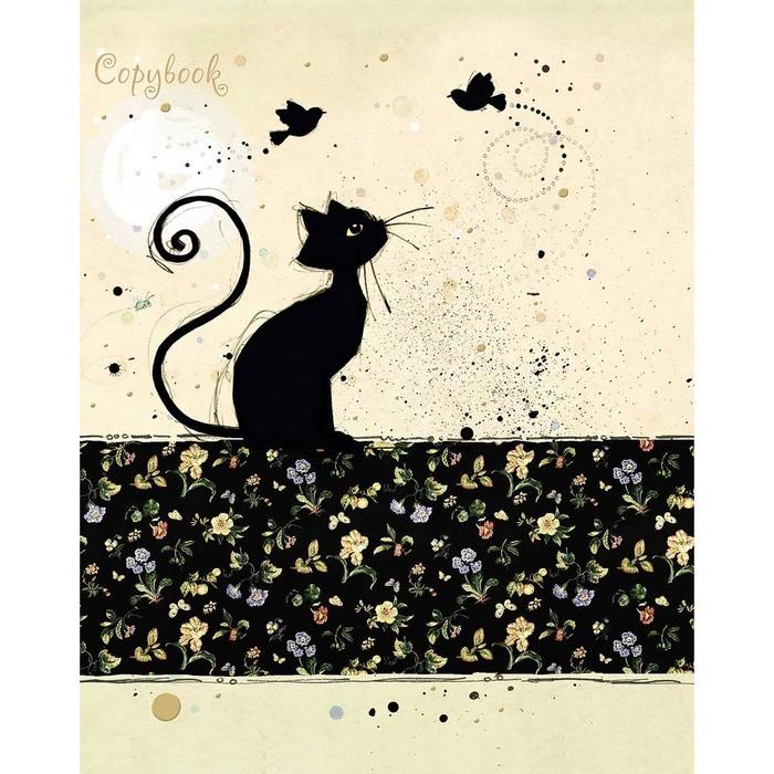 Тетрадь 48 листов клетка «Багарт. Черная кошка», мелованный картон, выборочный лак, тиснение фольгой, микс
