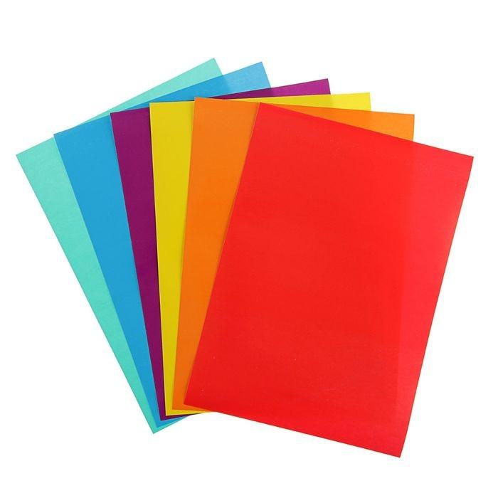 Бумага цветная самоклеящаяся А5, 6 листов, 6 цветов