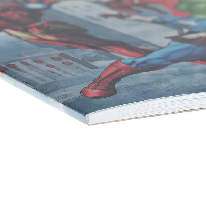 Альбом для рисования А4, 20 листов, на клею, Erich Krause «Мстители. Самые могущественные герои земли», блок 120 г/м2, обложка мелованный картон 170 г/м2, жесткая подложка 360 г/м2, белизна 100%, МИКС