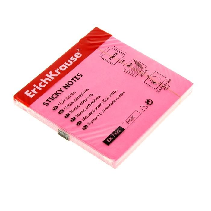 Блок бумаги с липким краем Erich Krause NEON, 75 х 75 мм, розовый, 80 листов