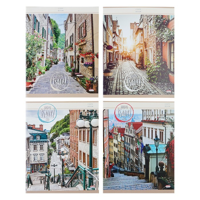 Тетрадь 96 листов клетка «Улицы города», обложка мелованный картон, тиснение лён