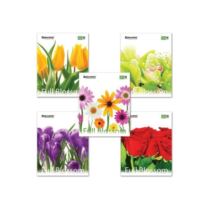 Тетрадь 96 листов в клетку, BRAUBERG ЭКО Full Blossom, обложка мелованный картон, микс