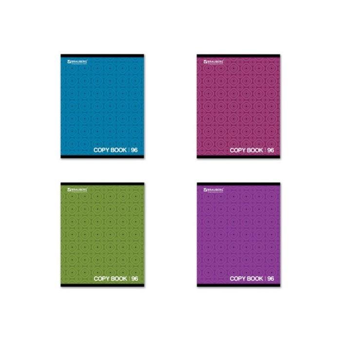 Тетрадь 96 листов в клетку, BRAUBERG ЭКО «Монохром 2», обложка мелованный картон, микс