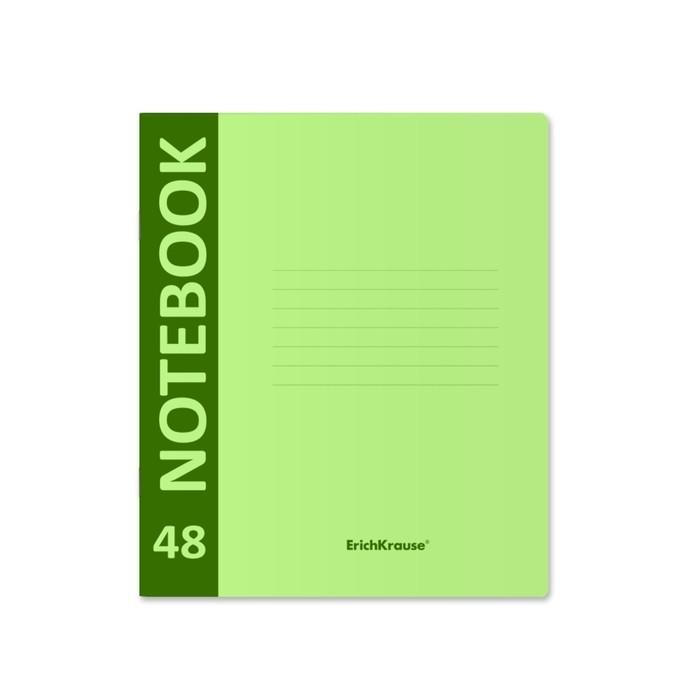 Тетрадь А5+ (170x203 мм), 48 листов клетка Neon, пластиковая обложка с фактурой «песок», зеленая