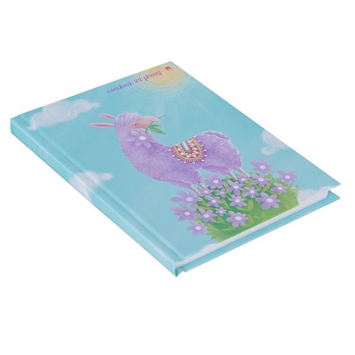 Блокнот А6, 80 листов «Лавандовая лама», твёрдая обложка, глянцевая ламинация