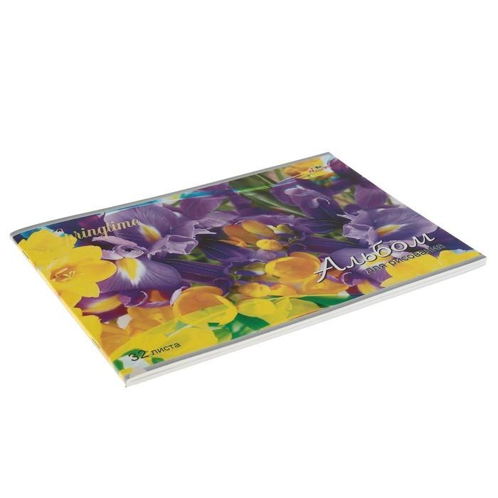 Альбом для рисования A4, 32 листа на скрепке «Ирисы», обложка мелованный картон, глиттер, блок 100 г/м?