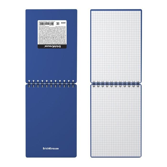 Блокнот А6 60л кл на гребне ErichKrause Classic с пласт. обл, синий 46959
