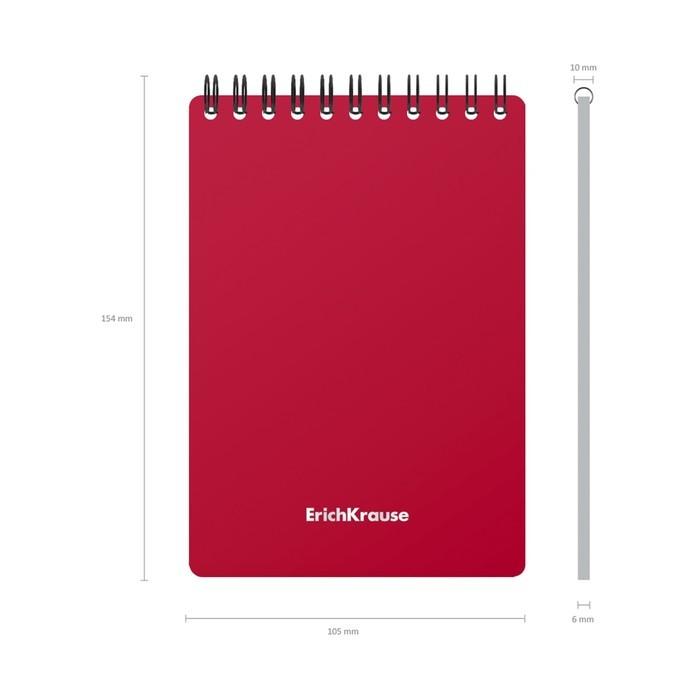 Блокнот А6 60л кл на гребне ErichKrause Classic с пласт. обл, красный 46962