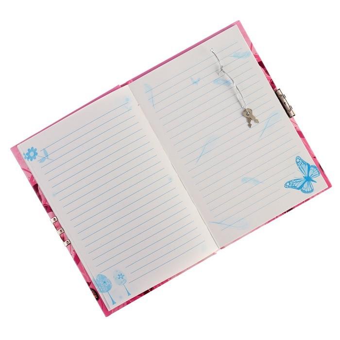 Записная книжка подарочная А6, 56 листов в линейку, на замке, «Бабочки», МИКС