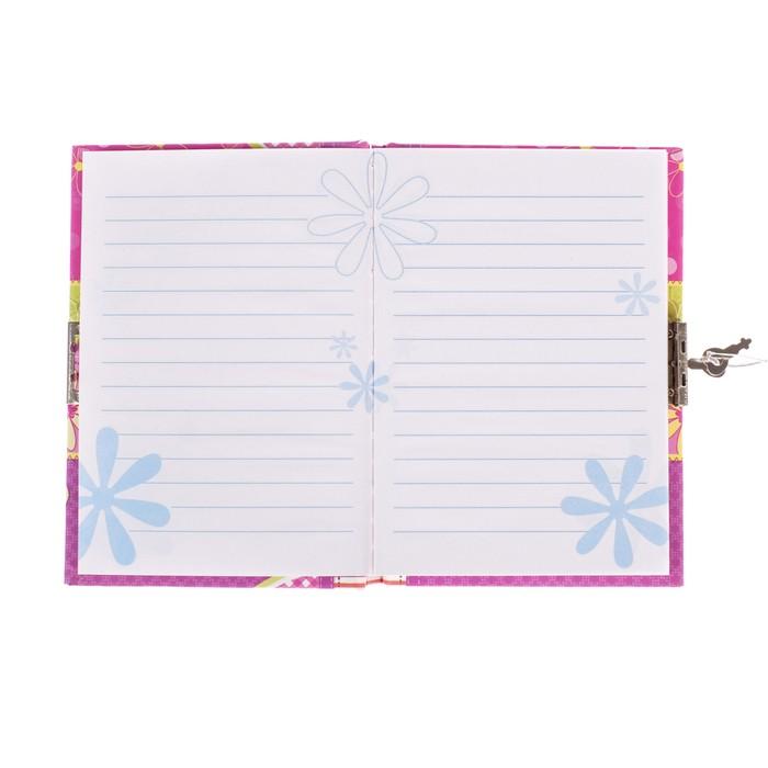 Записная книжка подарочная, формат А6, 50 листов, в линейку, на замке, «Бабочки/Совы», МИКС