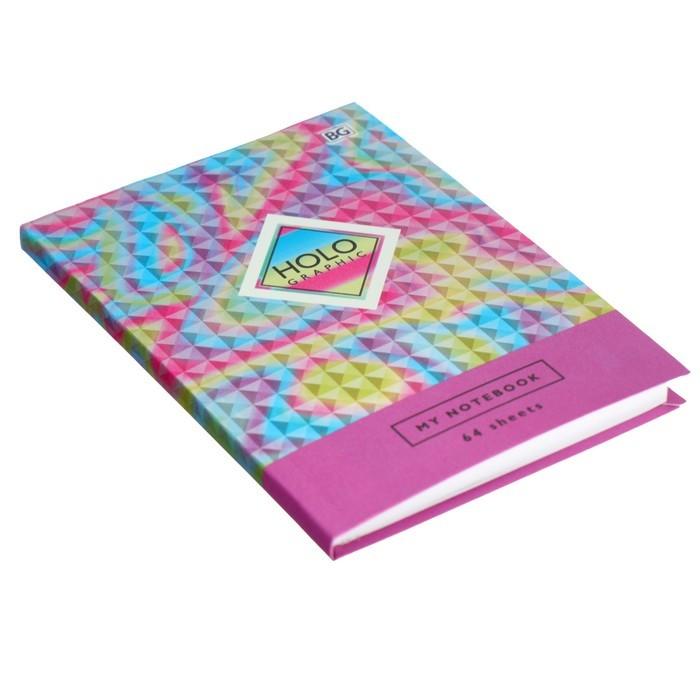 Бизнес-блокнот А6, 64 листа Holographic, интегральный переплёт, металлизация, матовая ламинация