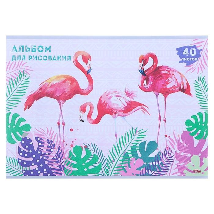 Альбом для рисования А4, 40 листов на скрепке «Розовые фламинго в зарослях», бумажная обложка