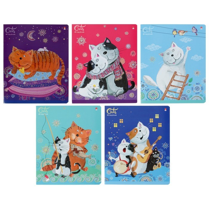 Тетрадь 48 листов клетка «Весёлый кот», обложка мелованный картон, УФ-лак, фольгирование, конгрев, МИКС