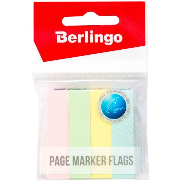 Закладки с клеевым краем 12х50мм, 4 цвета*100 листов Berlingo, пастель, микс