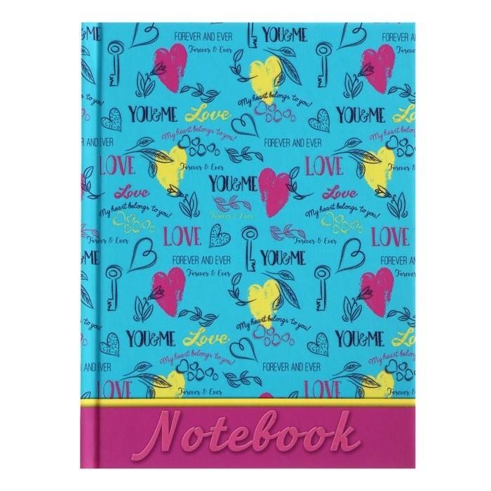 Записная книжка А6, 80 листов линейка «Разноцветные сердца», картон 7БЦ, матовая ламинация, глиттер, стилизованный блок
