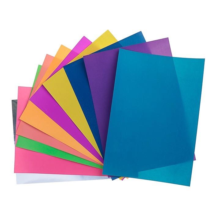 Бумага самоклеящаяся цветная А4, 10 листов, 10 цветов, флуоресцентная