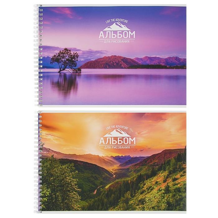 Альбом для рисования А4, 48 листов на гребне «Горы на закате», картонная обложка, ВД-лак, тиснение «лён»