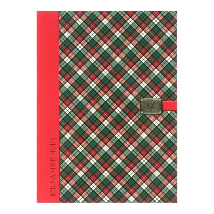 Ежедневник недатированный А5, 80 листов «Красно-зелёная шотландка», твёрдая обложка, глянцевая ламинация