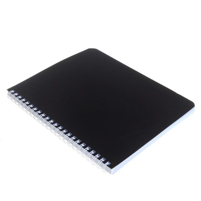 Тетрадь 96 листов клетка на гребне «Чёрная. METALLIC», бумвинил